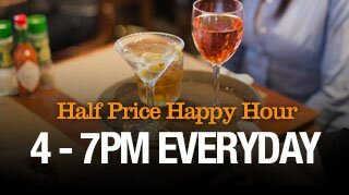 Half Price Happy Hour - 4-7pm Everyday